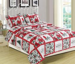Holiday Patchwork Quilt Bedding Set Cardinal Poinsettia Holl