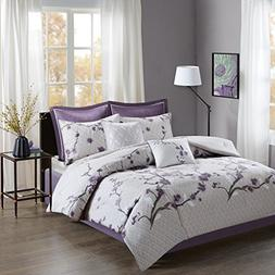 Holly 8 Piece Cotton Comforter Set Purple Queen