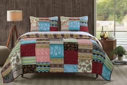GREENLAND HOME 3 PC BOHEMIAN DREAM QUILT KING BEDSPREAD SET