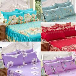 Home Flower Floral Bed Skirt Pillowcase Dust Ruffle Bedsprea