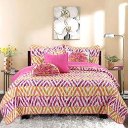 Hot Pink Chevron 3-Piece 100%Cotton Reversible Quilt Set, Be