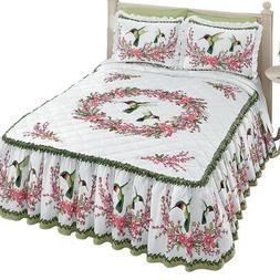 Hummingbirds & Floral Wreath Bedspread