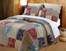Hyler Patchwork Cotton 3 Piece Reversible Quilt Set, Bedspre