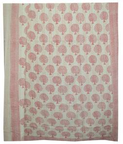 Indian Handmade Block Print Queen Cotton Kantha Quilt Throw