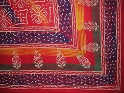 """Indian Block Print Tapestry Cotton Bedspread 106"""" x 106"""" Que"""