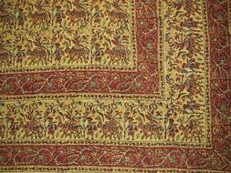 """Indian Block Print Tapestry Cotton Bedspread 108"""" x 88"""" Full"""