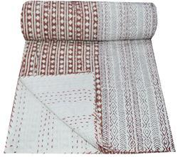 Indian Cotton Kantha Quilt Throw Blanket Bedspread Vintage T