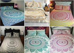 Indian Flat Sheet Mandala Cotton Bedspreads Bohemian Queen T