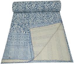 Indian Handmade Hand Block Print Queen Cotton Kantha Quilt T