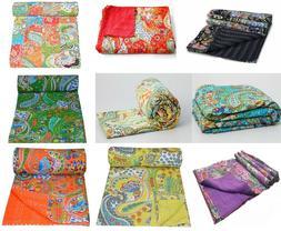 Indian Paisley Print Cotton Kantha Quilt Bedspreads Throw Ka