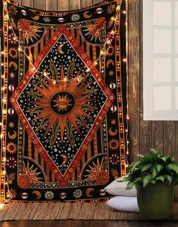 Indian Sun & Moon Tapestry WallHanging Decor Bohemian Hippie