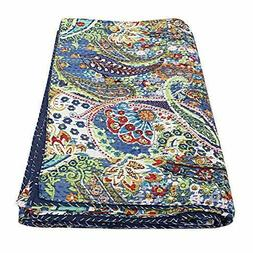 IndianKantha Quilt King Size Bedsheet Paisley Handmade Bedsp