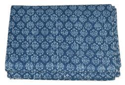Indian Indigo Print Kantha Quilt Throw Vintage Reversible Co