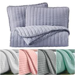 Chezmoi Collection Iris Pom Pom Fringe Pre-Washed Quilt Beds