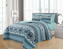 DiamondHome ISRA 6PC Printed Reversible Bedspread, Oversize