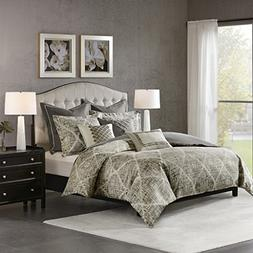 Madison Park Jacquard Comforter Set Queen/Dark Grey