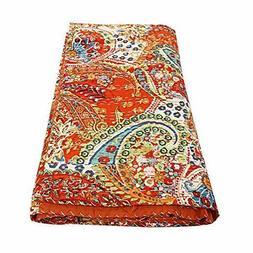Kantha Quilt King Size Bedsheet Paisley Handmade Bedspread I