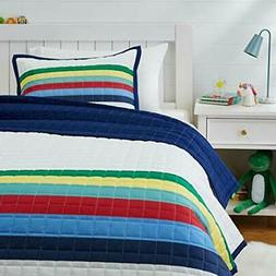 Amazon Basics Kids Multi-Color Stripe 100% Cotton Reversible