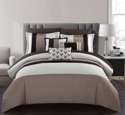 King or Queen Comforter Set Bedding Brown Beige Bed in Bag S