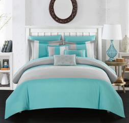 King or Queen Comforter Set Bedding Turquoise Blue With Shee
