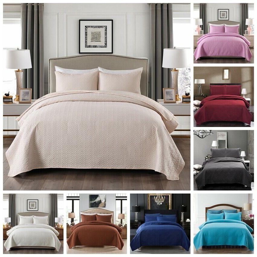 3 piece bedspread coverlet set comforter reversible