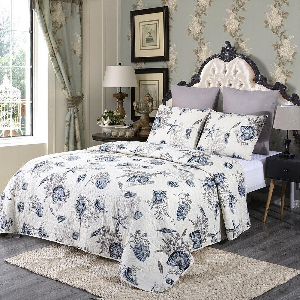 3 Piece Queen King Plaid Bedspread Bedding
