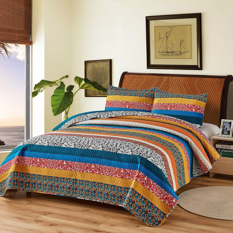 3-Piece Exotic Boho Quilt Set Bedspread/Coverlet/Bed Decorative