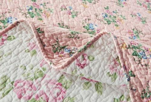 3-Piece Floral Washed Reversible Bedspread Quilt Set