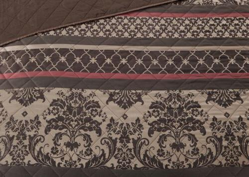 Chezmoi Stripe Motif Quilted Coverlet
