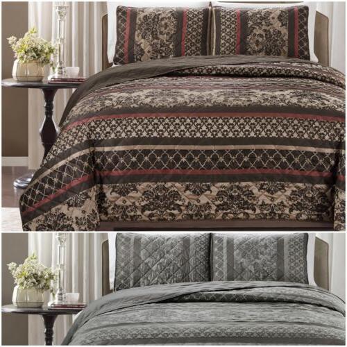 3 piece floral stripe motif quilted bedspread