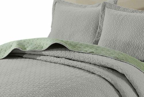 3-piece Gray Quilted King