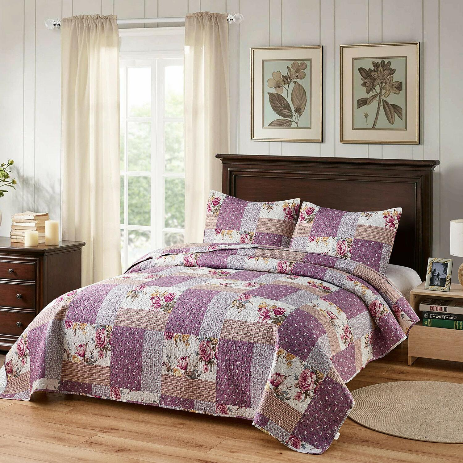 3pc Plaid Printed Bedspread/Quilt