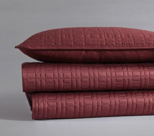 Chezmoi Collection 3pc Burgundy Matte Satin Quilt Bedspread