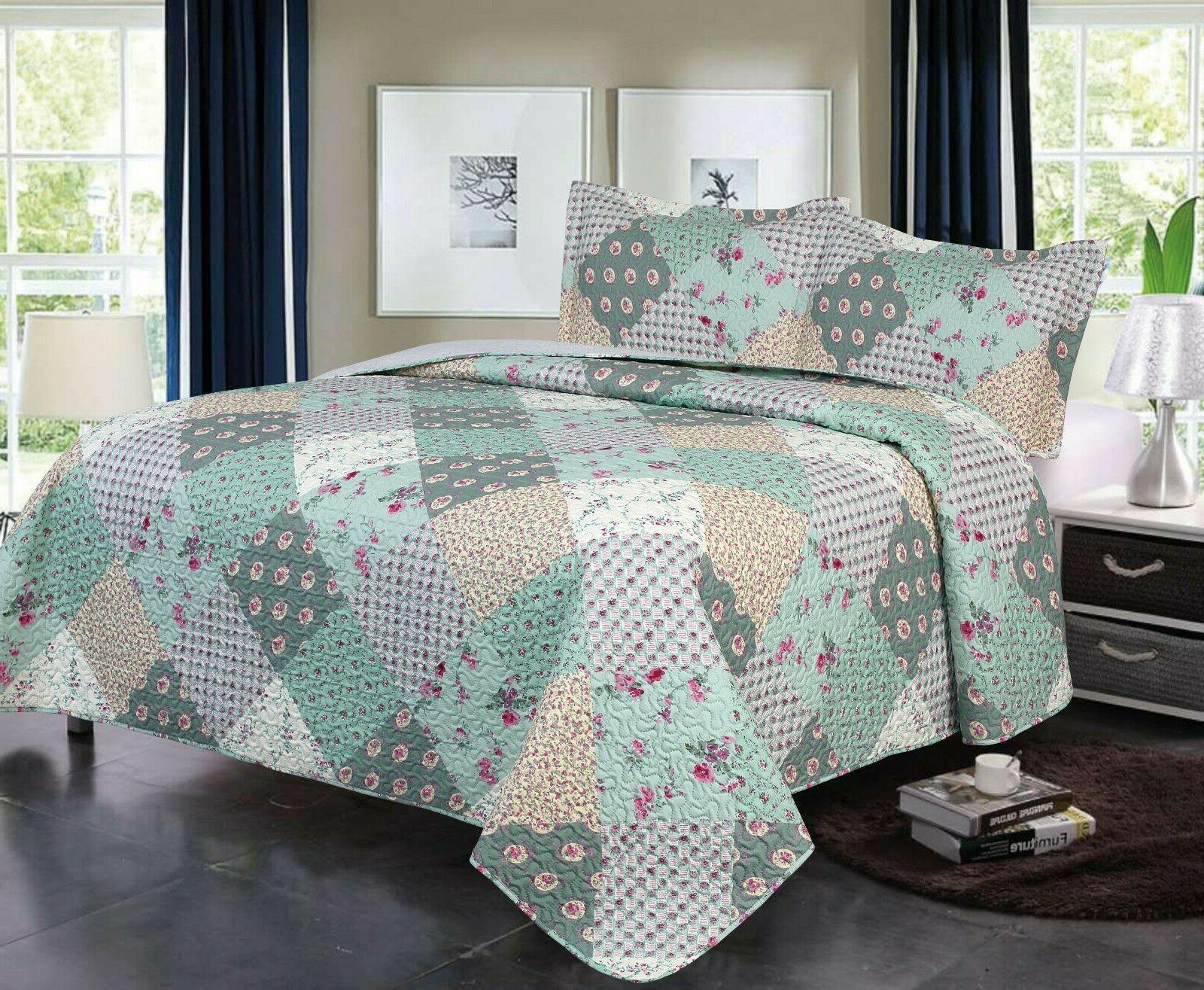 3 piece queen king quilt plaid patchwork