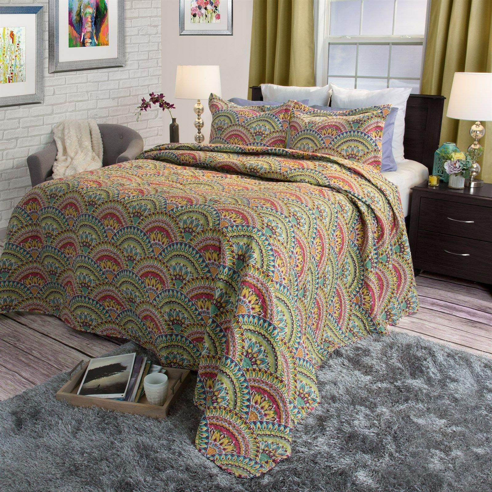 3 piece quilted blanket bed spread color