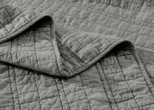 3-Piece Smoke Gray Stitch Cotton Bedspread