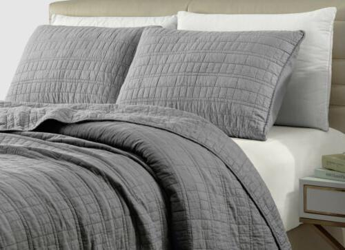 3-Piece Smoke Stitch Washed Cotton Bedspread