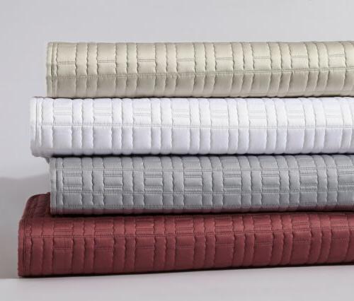 3-Piece Premium Matte Satin Geometric Quilted Bedspread Cove