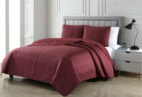 Chezmoi Collection 3pc Matte Satin Quilt Bedspread Coverlet