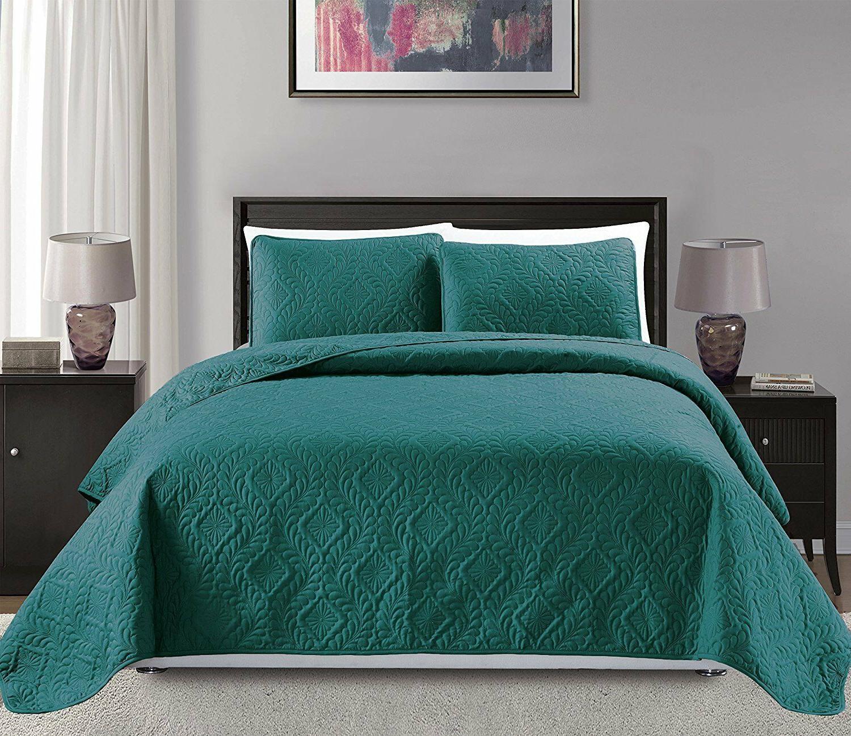 Fancy Linen 3pc Oversize Diamond Embossed Bedspread Solid Tu
