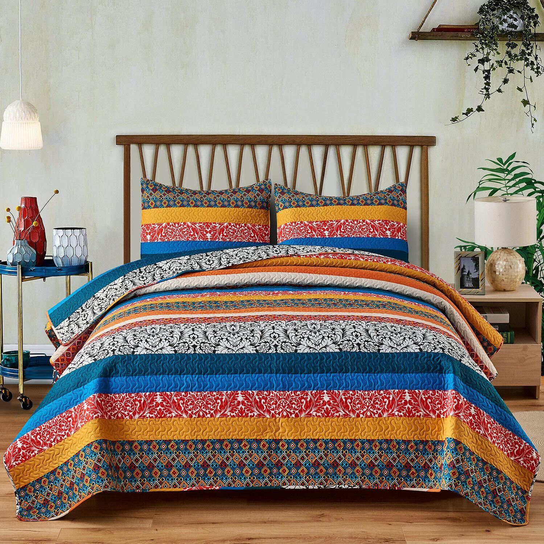 3pc Plaid Printed Reversible Bedspread/Quilt Set