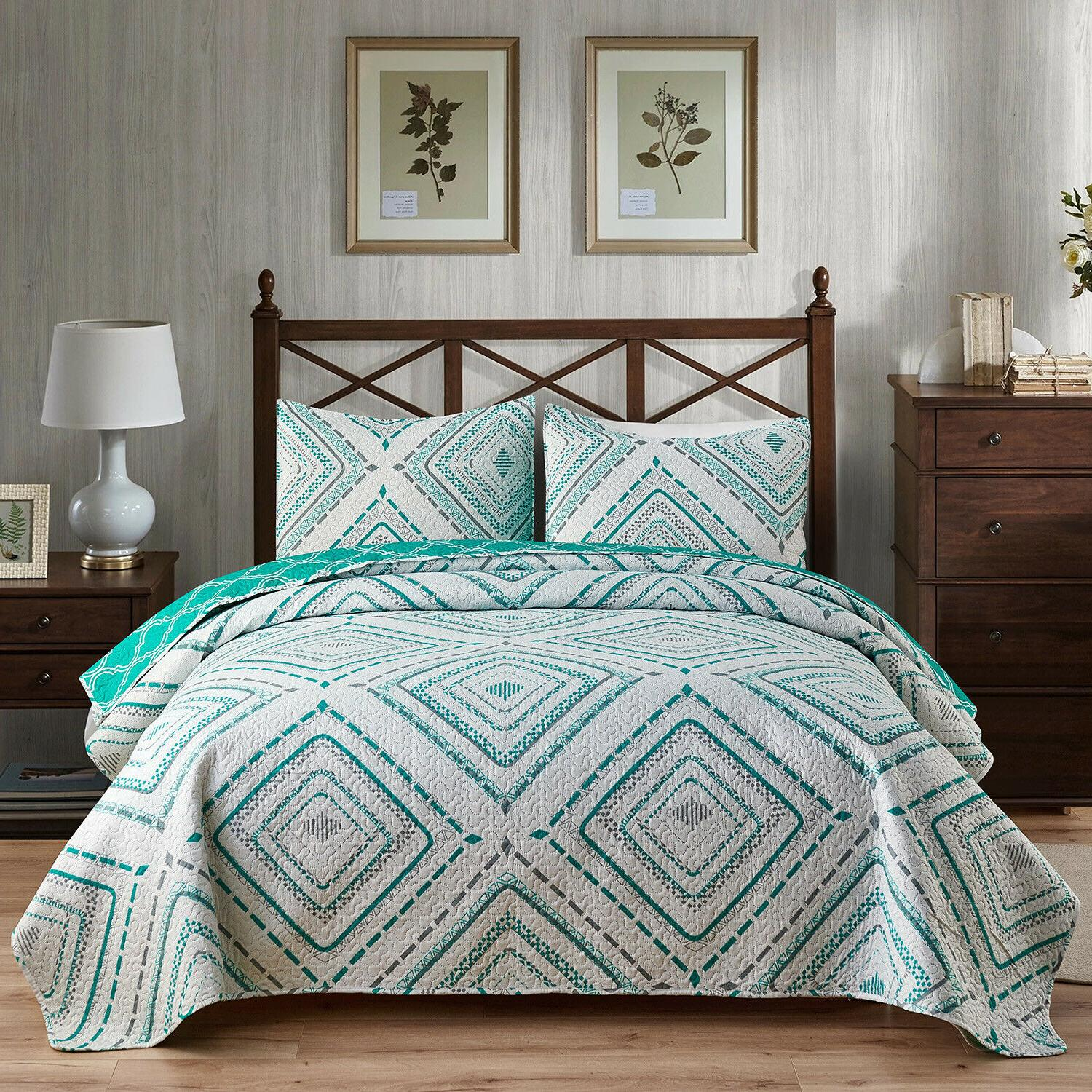 3pc Plaid Bedspread/Quilt Set