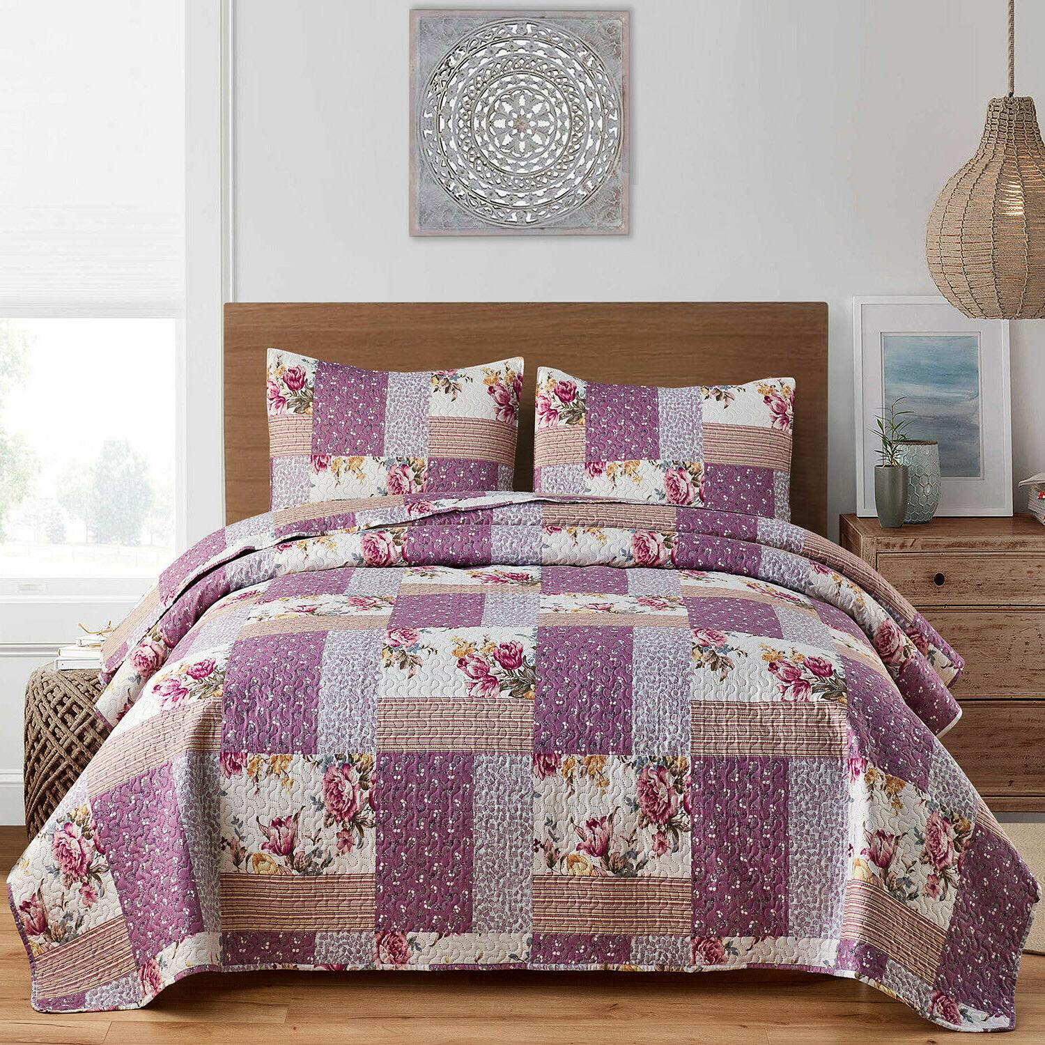 3pc plaid printed reversible bedspread quilt set