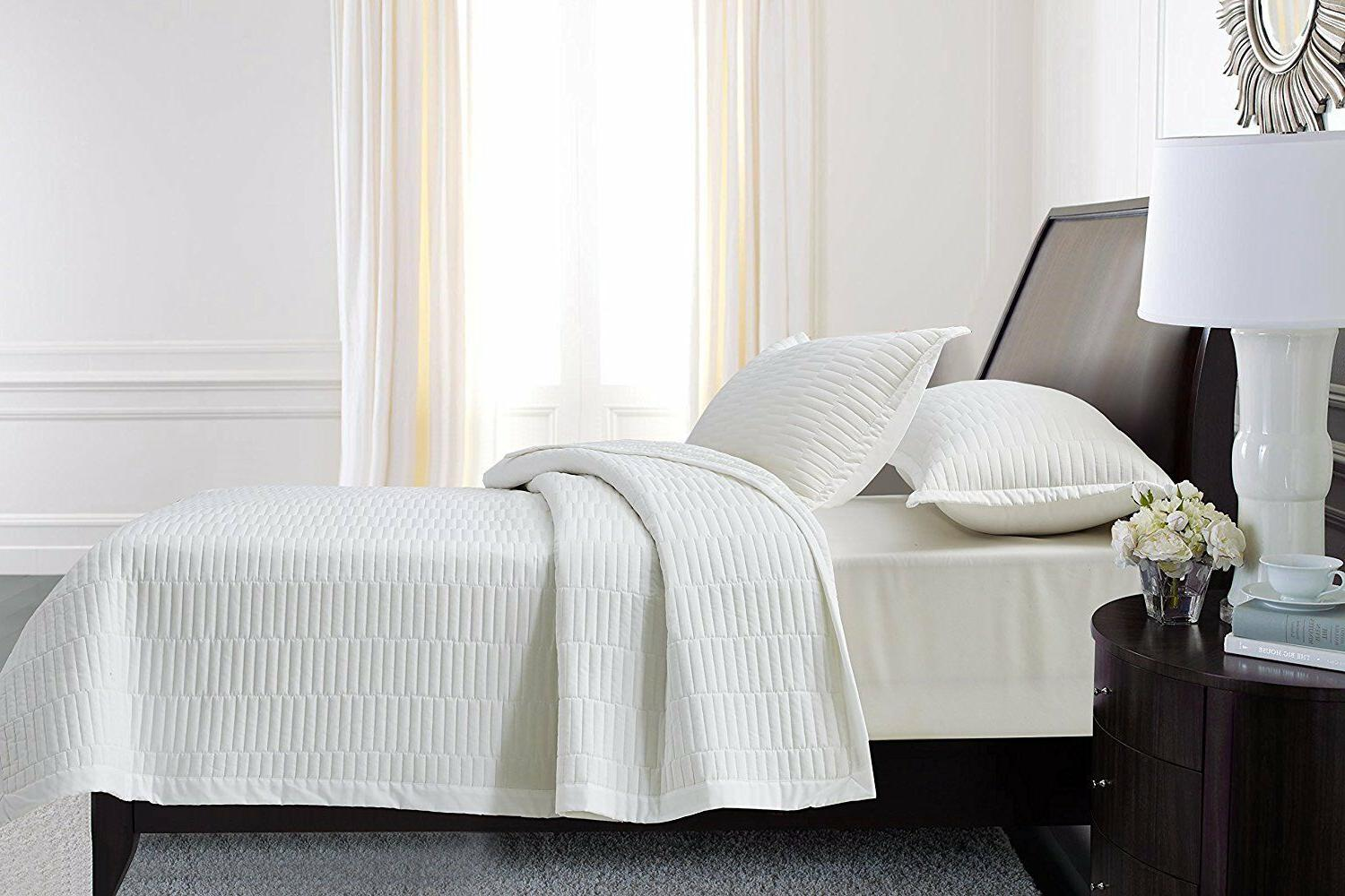Fancy Linen 3pc Quilted Bedspread Embroidery Solid White All