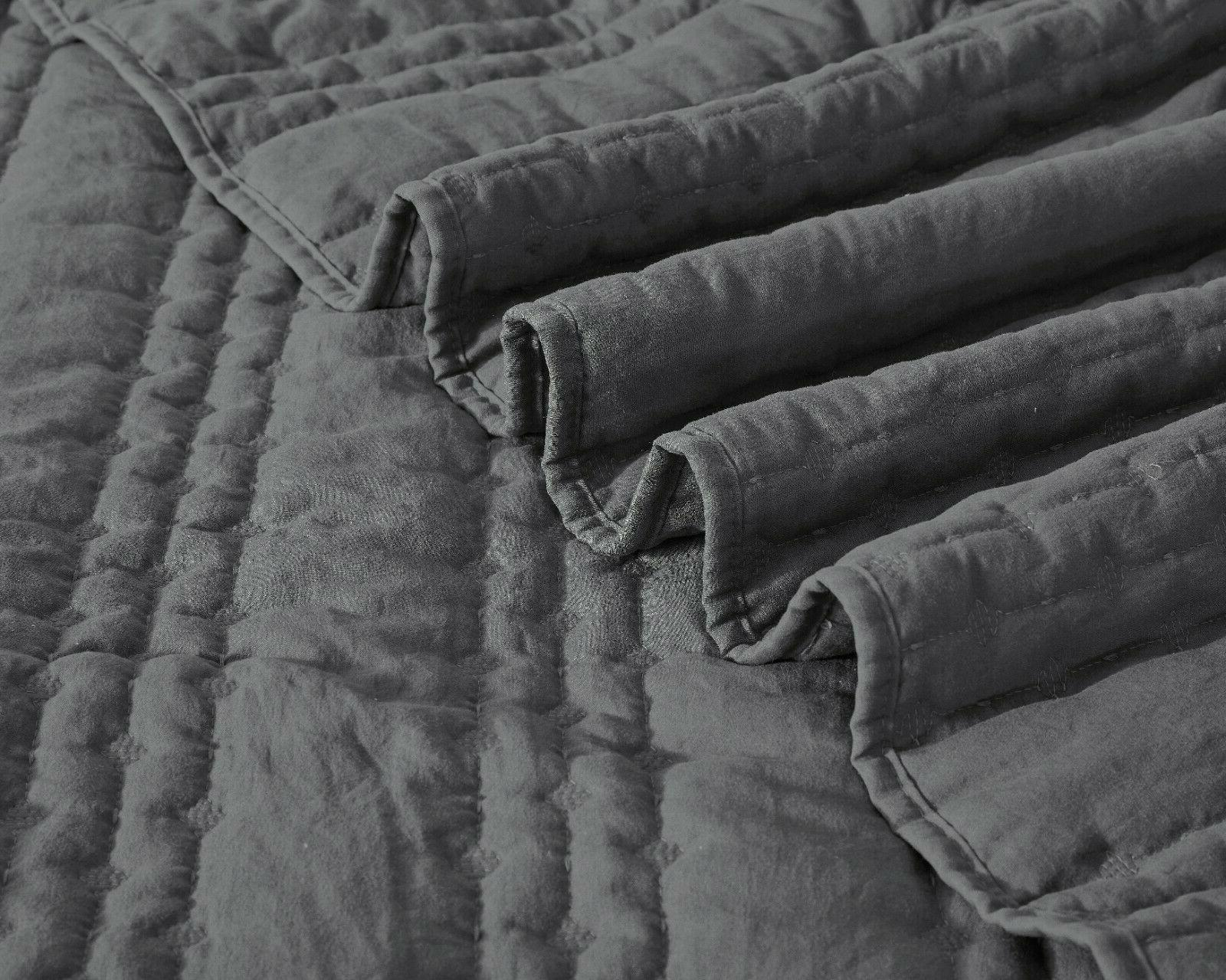 Charcoal Gray Bedspread Stone-Washed, Bed Cover