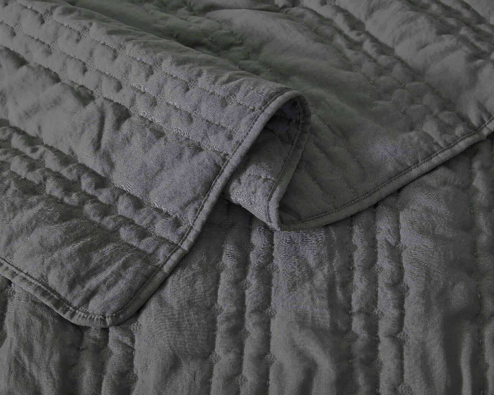 3pc Set Charcoal Gray Stonish Bedspread Stone-Washed, Bed