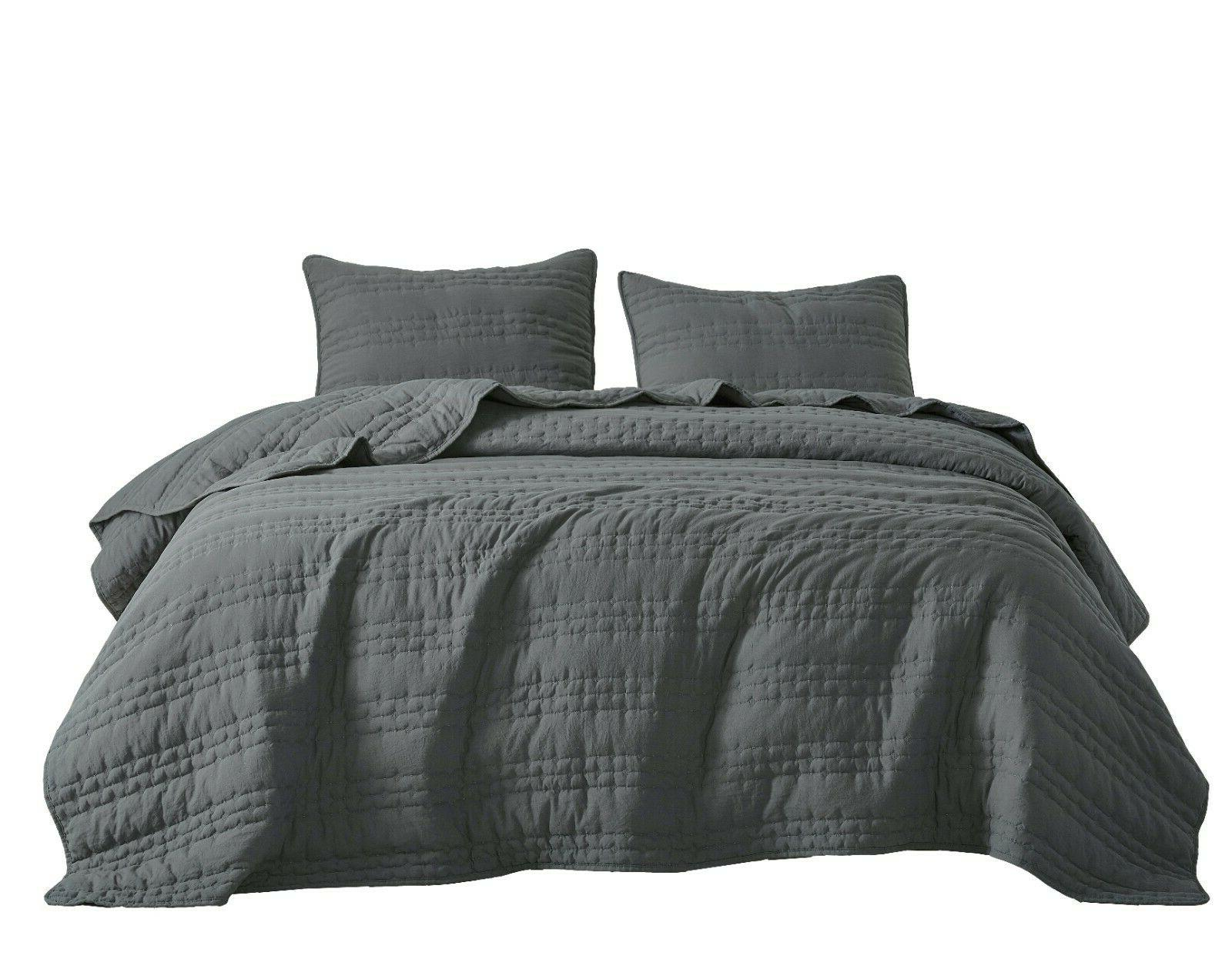 3pc Quilted Charcoal Stonish Bedspread Stone-Washed, Bed