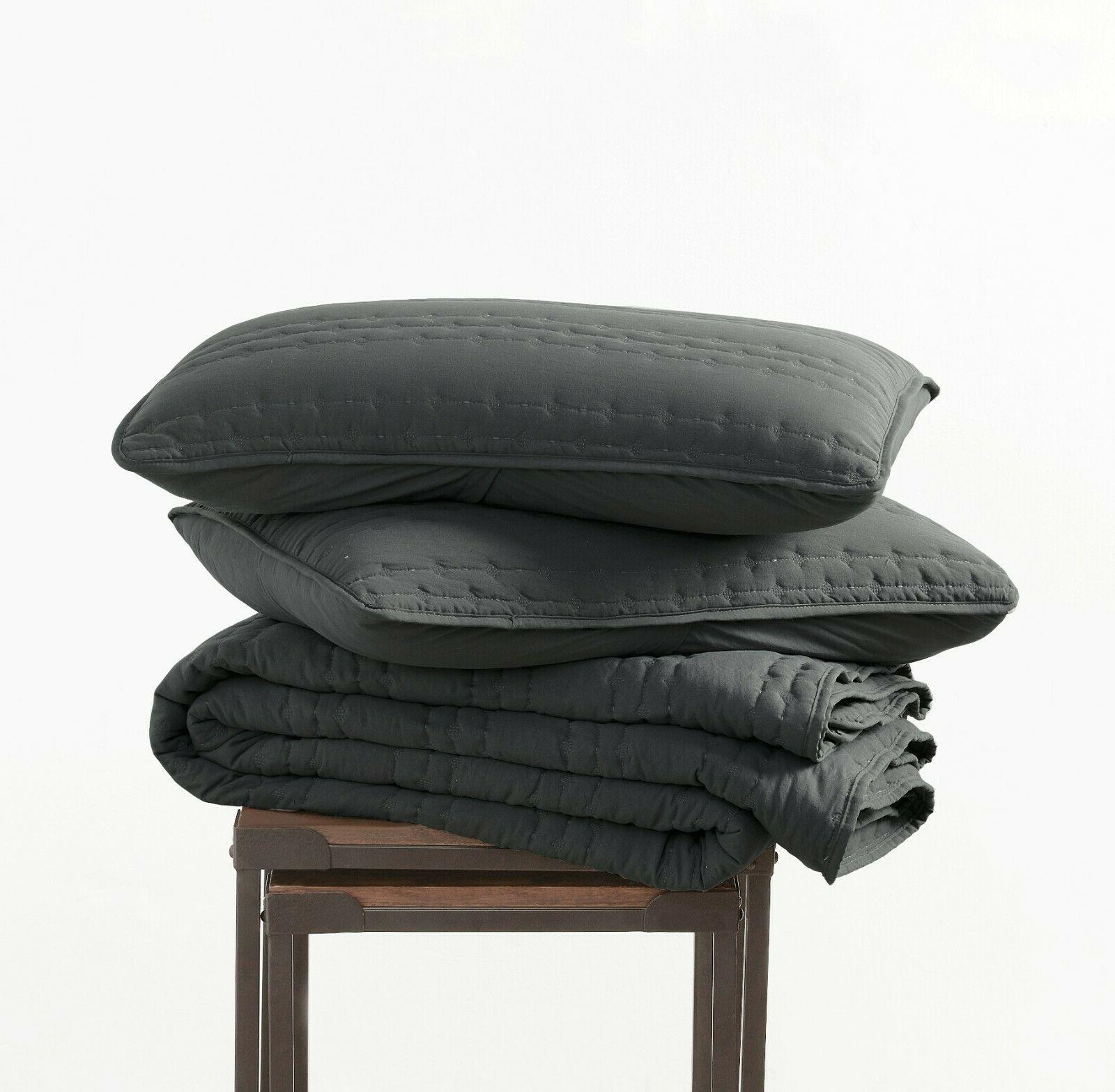 3pc Quilted Coverlet Charcoal Stone-Washed, Cover