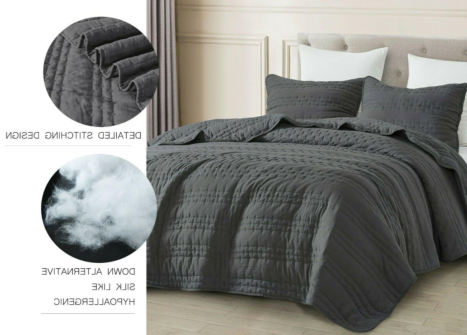 3pc Quilted Set Charcoal