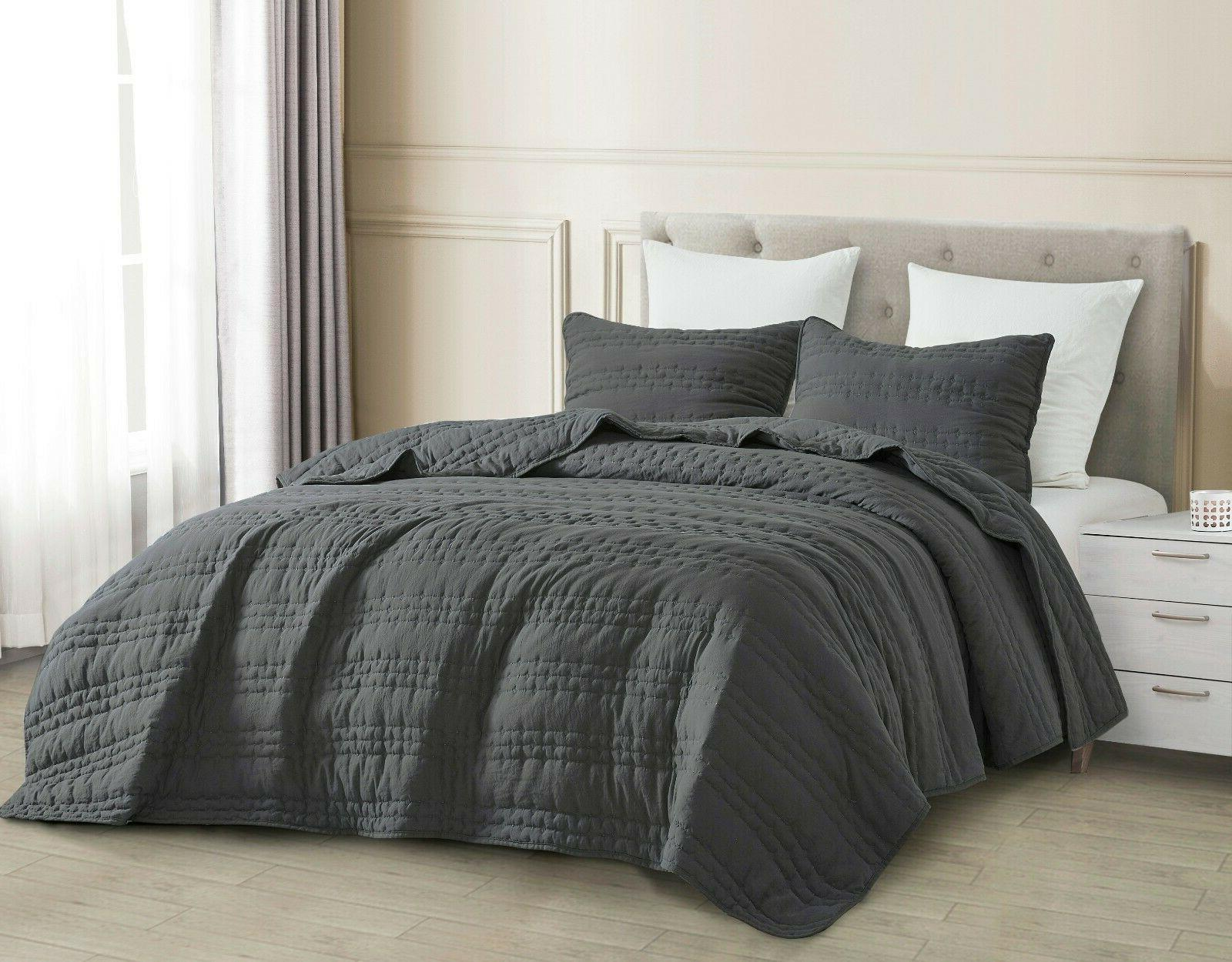 3pc quilted coverlet set charcoal gray stonish